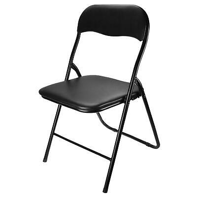 £59.98 • Buy Black Metal Folding Chair Foldable Computer Desk Back Rest Office Party Chairs