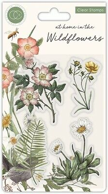 Craft Consortium Clear Stamps Set 4 Pieces - At Home In The Wildflowers - Flora • 5.89£