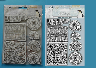 ARCTIC ANTARCTIC  7 FOAM MOUNTED RUBBER STAMPS  STAMPERIA Shells Fossils Nets  • 9.95£