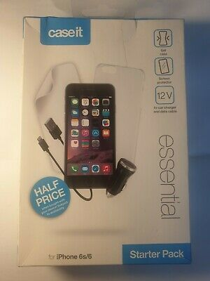 AU5.42 • Buy APPLE IPHONE 6, 6S Caseit Hard Soft Gel Case,car Charger,screen/p  STARTER PACK