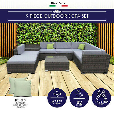 AU989 • Buy Milano 9 Piece Wicker Rattan Sofa Set Oatmeal Grey Outdoor Lounge Furniture
