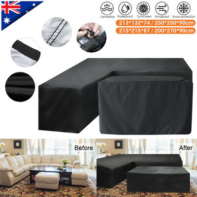 AU33.99 • Buy Waterproof L Shape &Square Furniture Cover IN-Outdoor Garden Corner Sofa Protect