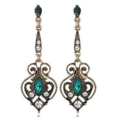 £2.99 • Buy Sparkling Boho Ethnic Ancient Gold Green Silver Crystal Drop Dangle Earrings UK