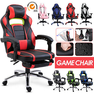 Racing Gaming Computer Chair PU Recliner Office Swivel Lift Adult Executive Seat • 96.99£