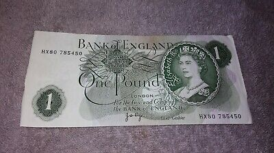 Bank Of England One Pound £1 Note  Circulated 1960 - 1978 100% Genuine  • 8.95£