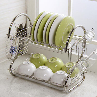 2 Tier Dish Drainer Rack Storage Drip Tray Sink Drying Wired Draining Plate Bowl • 10.99£