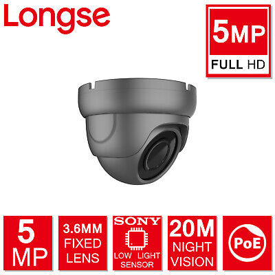 5mp Longse Sony Starvis Fixed Dome Ip Poe Camera Outdoor Low Light Grey Full Hd • 44.99£