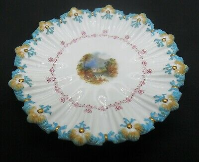 C1880s Coalport China Cabinet Plate, Hand Painted & Gilded, Shells & Seaweed. • 18£