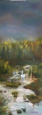 Oil Painting Of The River Throop, Bournemouth, Dorset By Mouth Painter Rob Trent • 20£