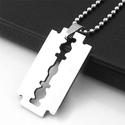1X Razor Blade Necklace Silver Stainless Steel Pendant Dog Tag Chain JF • 2.46£