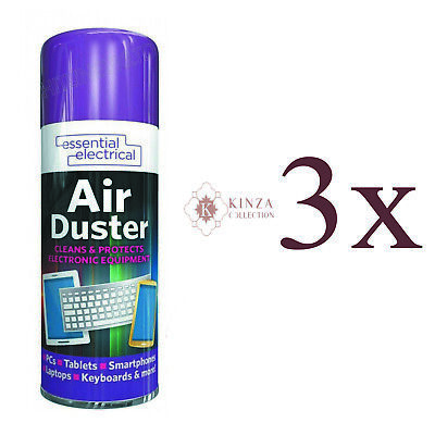 £6.99 • Buy 3 X 200 Ml Compressed Air Pressure Duster Spray Can Cleans Protects Keyboards