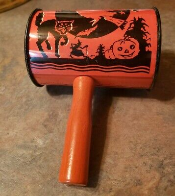$ CDN95.15 • Buy Vintage Tin Lithograph Halloween Noisemaker With Wood Handle ~Nice One~ Works!