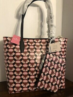 $ CDN261.74 • Buy Kate Spade Out Of The Woods Geo FOX Large Reversible Tote NWT