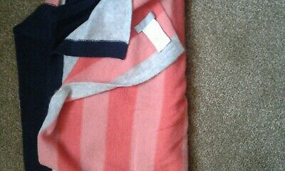 Pure Collection 100% Cashmere  Lge Scarf Orange/navy/grey • 33£