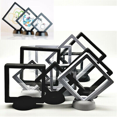 3D Floating View Jewelry Coin Display Frame Holder Box Case Black/White Stand Ne • 1.79£