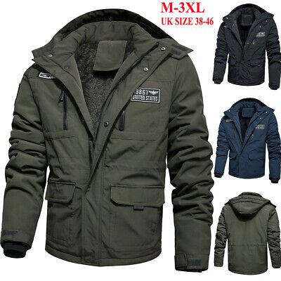 Mens Fleece Lined Military Jacket Bomber Winter Warm Combat Cargo Coat Outerwear • 15.99£