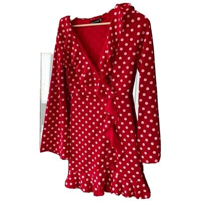 Pretty Little Thing Red And White Polka Dot Dress Size 8 • 7£