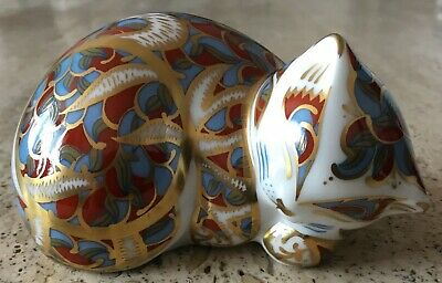 Royal Crown Derby Paperweight - The Contented Kitten - Rare & Retired • 49.95£
