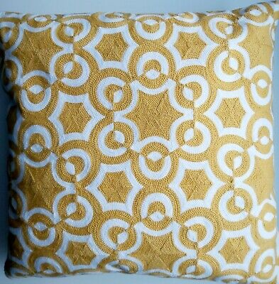 Embroidered Yellow Cushion Cover . Geometric  45x45cm ** • 1.45£