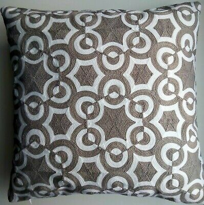Embroidered Dove Grey Cushion Cover . Geometric  45x45cm ** • 1.20£