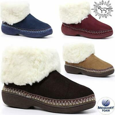 £14.95 • Buy Ladies Slippers Womens Memory Foam Fur Thermal Ankle Boots Warm Shoes Size