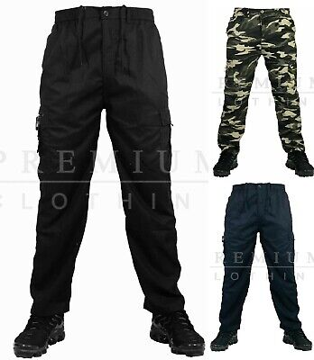 £14.99 • Buy Mens Elasticated THERMAL Lined Cotton TROUSERS Cargo Combat Work Pants Bottoms L