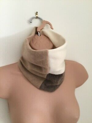 100% Pure Cashmere Camel Mink Cream Cable Detail Handmade Neck Warmer/Snood New • 14.99£