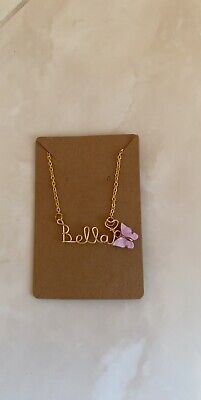 Gold Wire Name Personalised Necklace With Acrylic Butterfly • 14.50£