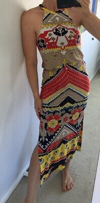 AU24 • Buy Tigerlily Archives Womens Dress 8 Red Yellow White Sleeveless Maxi Long Tribal S