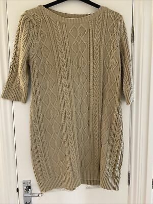 NEW Monsoon Knitted Short Sleeve Jumper Dress Patterned XL Natural Beige • 25£