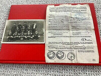 WW1 Postcard RASC 6 Coy Football Team & Protection Certificate Of Identity 1919 • 2.99£