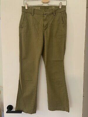 JCrew SAMMIE Cropped Khaki Green Chino Trousers, Size 26 • 3£