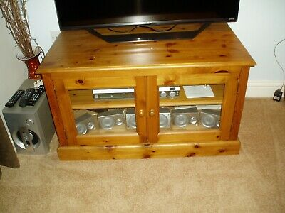 Pine Tv Stand Dvd, Stereo Cabinet With Glass Doors - Preowned • 200£