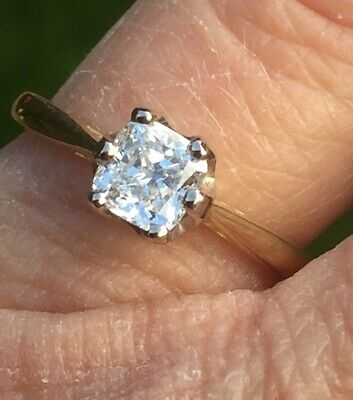 Gia Certified 18ct Gold Cushion Diamond Solitaire Ring M • 1,050£