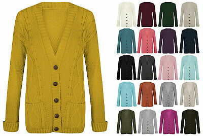Ladies Women Chunky Aran Grandad Cardigan Cable Knitted Long Sleeve Button Top  • 11.99£