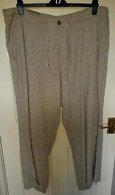 Principles Beige Striped Linen Trousers Size 20, New With Tags • 3£