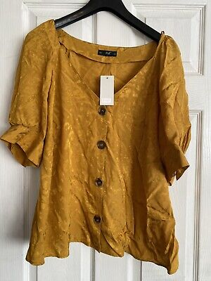 Ladies Lovely Ocre Mustard Yellow Blouse Top Size 22 BNWT • 0.99£