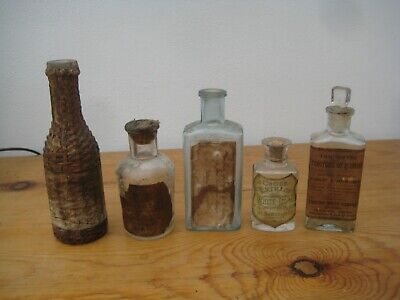 Apothecary Glass Bottles X 5 - Old Labels Circa 19th Century • 20£