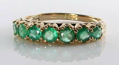 £279 • Buy  Classic 9ct 9k Gold Colombian Emerald Eternity Art Deco Ins Ring Free Resize