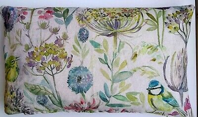Spring Linen Cushion Cover . Meadow, Flowers And Birds  30x50cm  • 1.20£