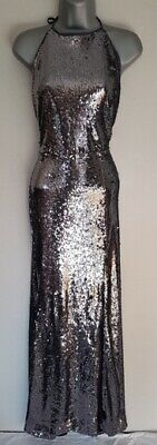 New LIPSY Pewter Silver Grey Sequin High Neck Halter Low Back Maxi Dress 14 £88 • 27.99£
