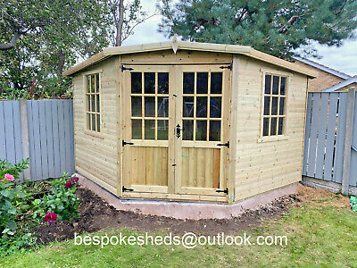 Georgian Corner House Summerhouse Shed Man Cave Tanalised Heavy Duty 16mm T&g • 1,200£