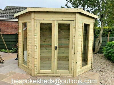 Corner Summer House Garden Office Treated Tanalised Shed Heavy Duty T&g  • 1,200£
