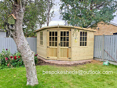Corner House Summerhouse Georgian Office Cabin Garden Shed Heavy Duty 16mm T&g • 1,200£