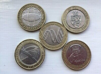 £2 Two Pound Commemorative Collection Job Lot X5 Coins Inc-Army/Guinea/DNA/Rugby • 23£