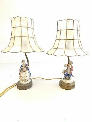 $ CDN66.07 • Buy Antique Porcelain Figurine Lamp Set Lovers With Musical Instrument