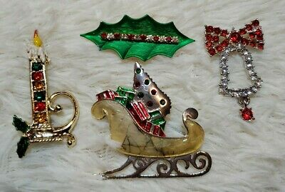 $ CDN7.88 • Buy Sparkly VINTAGE Lot 4 Enamel Rhinestone CHRISTMAS Holiday Pins BROOCHES