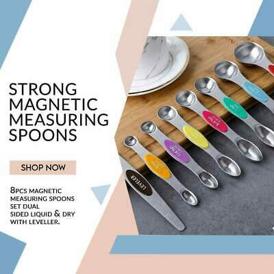 £7.99 • Buy 8pcs Measuring Spoons Set Kitchen Accessories Baking Set Magnetic Double Sided