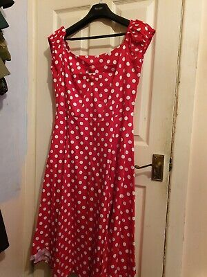 Collectif Red Polka Dot Dolores Swing Dress Size 16 • 30£