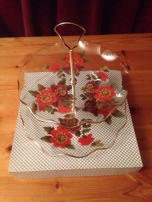 Vintage Two Tier Glass Cake Stand In Presentation Box • 12£